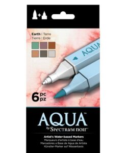 Spectrum Noir Aqua Markers 6pk –Earth