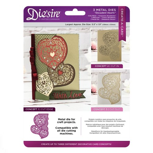 Die'sire Create a Card Cut on Edge – Decadent Hearts