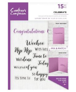 Crafter's Companion Sentiment and Verses Clear Stamp - Celebrate
