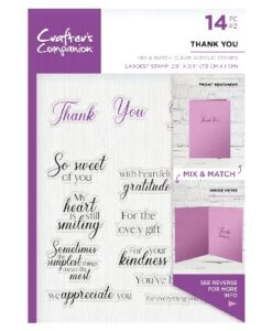 Crafter's Companion Sentiment and Verses Clear Stamp - Thank You
