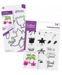 Crafter's Companion Layering Stamp & Gemini Die – Flourishing Fuchsias
