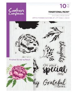 Crafter's Companion Clear Stamp - Traditional Peony