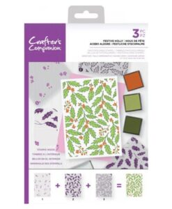 Crafter's Companion Background Layering Stamp - Festive Holly