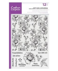 Crafter's Companion Large Background Stamp - Oriental Peony