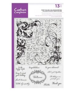 Crafter's Companion Large Background Stamp - Script Collage