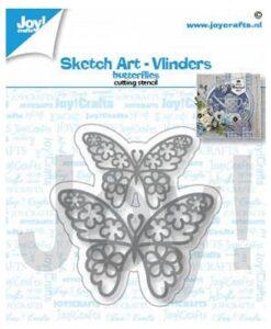 Joy Crafts! Snijmal - Sketch art-Vlinders