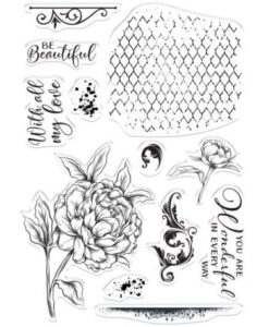 Crafter's Companion Beautiful Peony - Collage Clearstamp