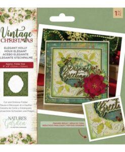 Vintage Christmas Cut & Emboss Folder - Elegant holly