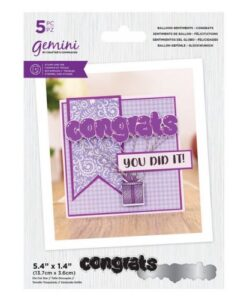 Gemini Stamp & Die Balloon Sentiments - Congrats