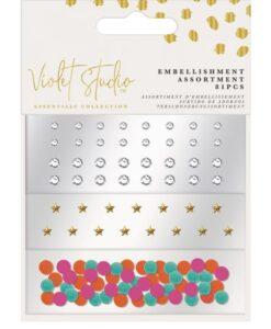 Violet Studio - Mini Embellishment - Gems & Pom Poms