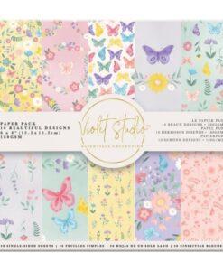 Violet Studio - Paperpad Butterflies & Flowers - 15x15 cm