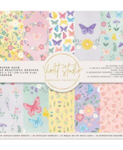 Violet Studio - Paperpad Butterflies & Flowers - 30x30 cm